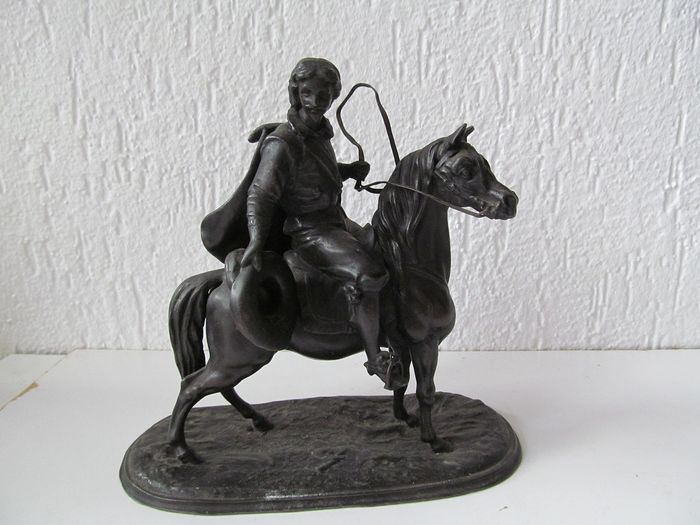 A detailed image of a musketeer on horseback - Spelter - Second half 19th century