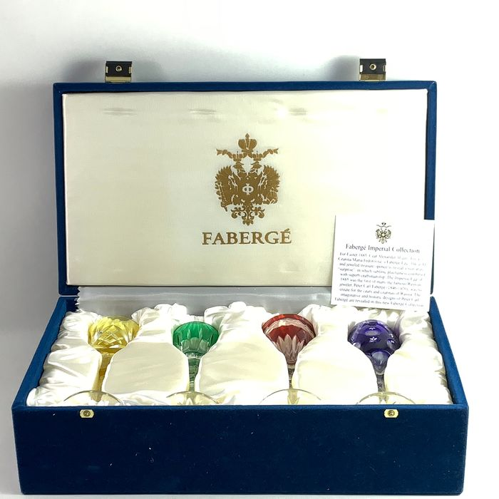Franklin Mint, House of Faberge  - Fabergé - The Imperial Wine Goblets - Chystal Glass