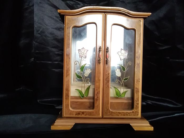 Jewelry box. Magnifying wood. Stained glass. superb - Bois, Bronze, Verre (vitrail)
