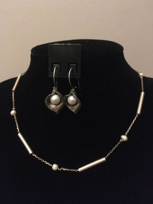 925 Silver - Necklace and earrings set Pearl