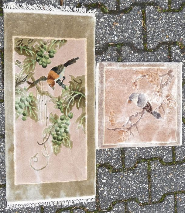 Two Chinese silk rugs, silk on silk, hand-knotted - 62 cm - 31 cm