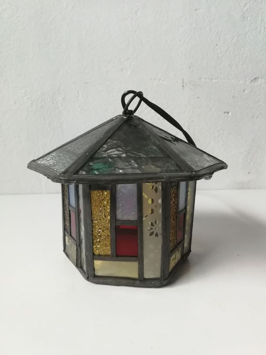 Amsterdam school - stained glass (hall) lantern - Glass (stained glass)