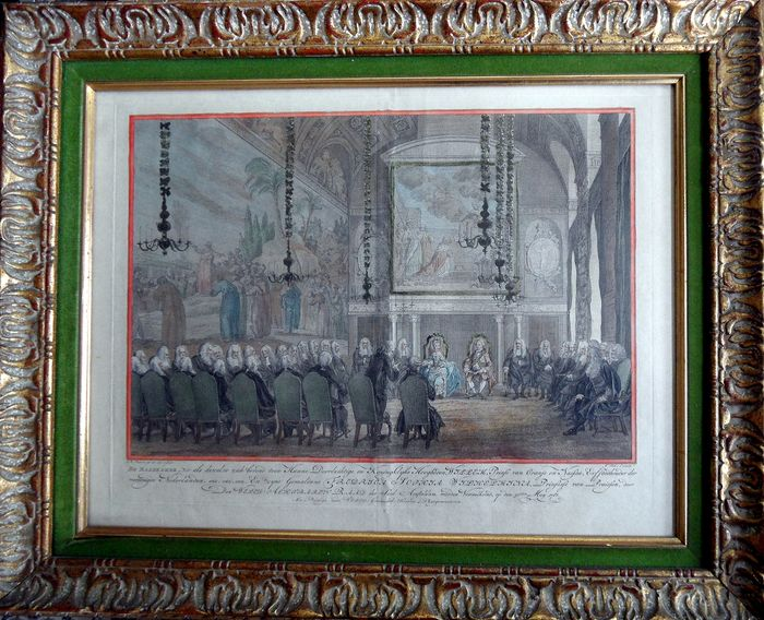 Prince Willem V & Princess Wilhelmina, 30 May 1768, Council Chamber Amsterdam City Hall - engraving in frame - Second half 18th century