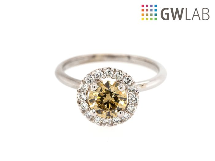 14 carati Oro bianco - Anello - 1.29 ct Diamante - Fancy Intense Brownish Yellow - VS1 - Senza prezzo di riserva