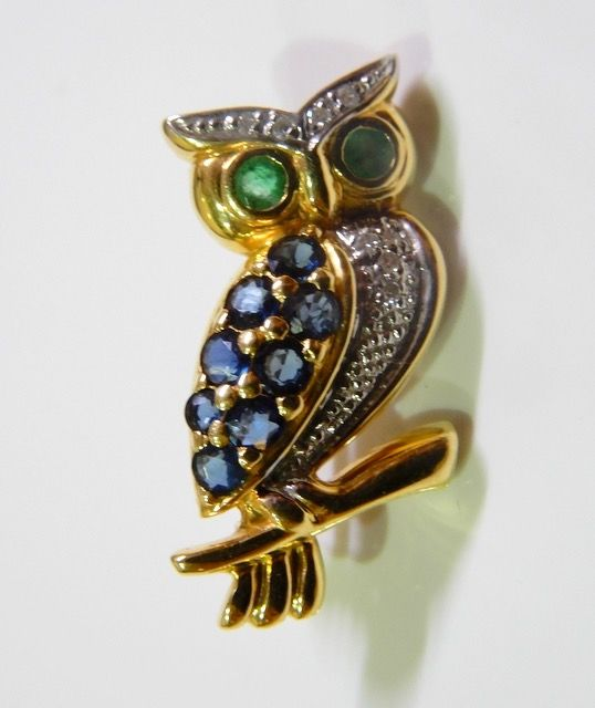 Superbe hibou - 18 kt. Yellow gold - Brooch Mixed