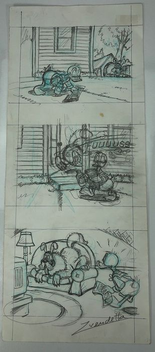 Donald Duck's - Furry surprise - Original Pencil Triptych-Z. Vendetta - Met handtekening, met certificaat