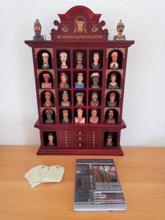 Complete Golden Gaper collection with collection box and book (2) - Wood