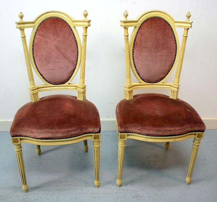 Pair of lacquered side chairs with velor upholstery