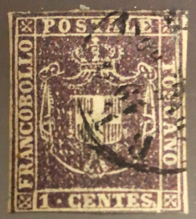 Toscana 1860 - 1 cent. violetto scuro - Sassone N. 17c