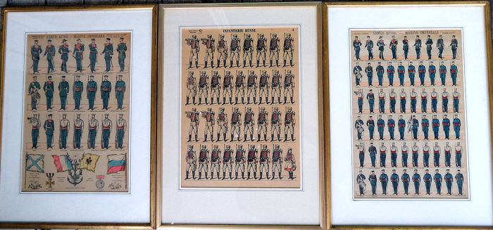 Russian Army, Imperial Navy (3) - Engravings framed - 1900
