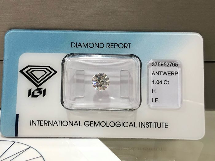 1 pcs Diamond - 1.04 ct - Briliáns - H - IF (hibátlan)