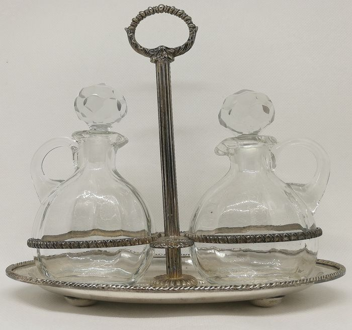 Elegant Oil and Vinegar Set - Silver and Crystals - ARGENTERIA STEFANI - Italy - mid 20th century