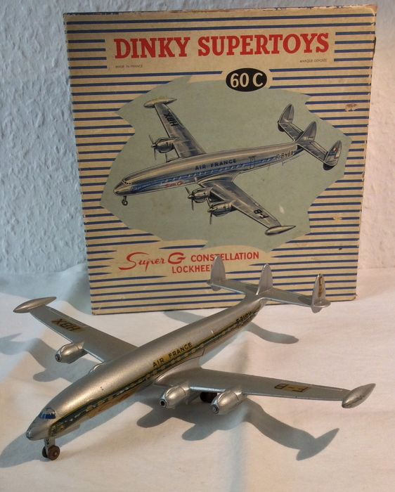 """Dinky Toys - 1:144 - Lockheed Super G Constellation """"Air France"""" - 50's with Box - #60C - Dinky Toys - France"""