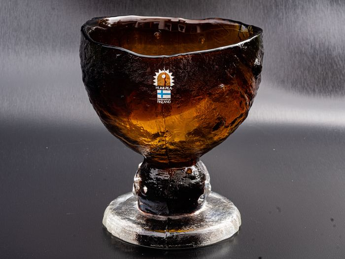 Pertti Santalahti - Humppila - Amber Bowl - Height 14 cm - Glass