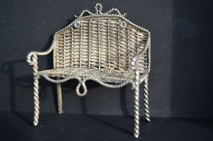 Silver miniature rattan bench (1) - .835 silver - Nederland, Amsterdam 1900 - 1921 A.F Westerwaal - Netherlands - Late 19th century