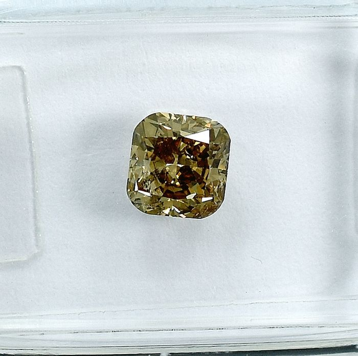 Diamant - 1.03 ct - Cushion - Natural Fancy Light Orangy Brown - Si2 - NO RESERVE PRICE