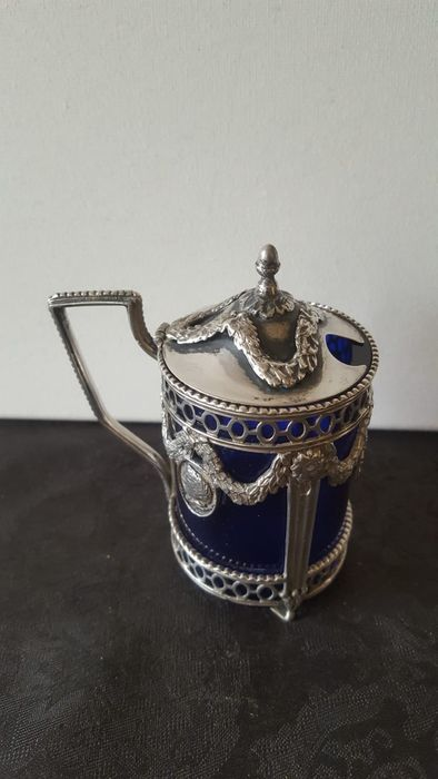 Mustard pot 1895 year letter L - .833 silver - Netherlands - Late 19th century