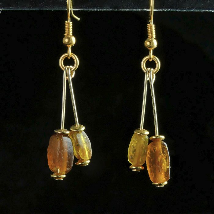 Ancient Roman Glass Earrings with amber colour glass beads