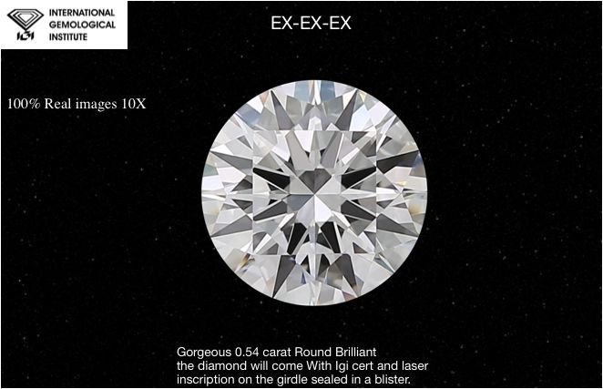 1 pcs Diamond - 0.54 ct - Brilliant, #064-EX-EX-EX - D (colourless) - IF (flawless), LC (loupe clean)