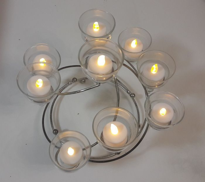 9-armed candlestick for tea lights - Glass, Silverplate
