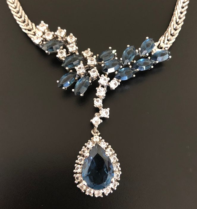 925 Silver - River necklace richly decorated with crystals