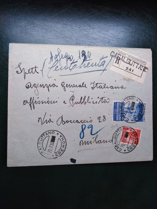 Italy Republic 1945 - Republic 55 l. Broadcasting and 10 lire Democratic on envelope from Casalbuttano to Milan - Sassone N. 624, 559