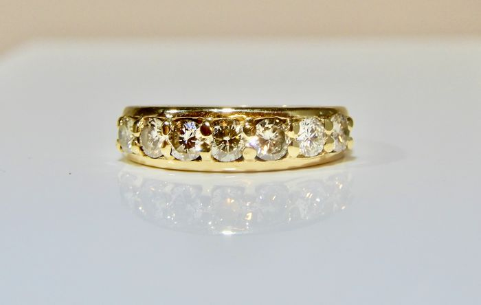 7 diamants pour 0,81 CT - 18 kt. Yellow gold - Ring