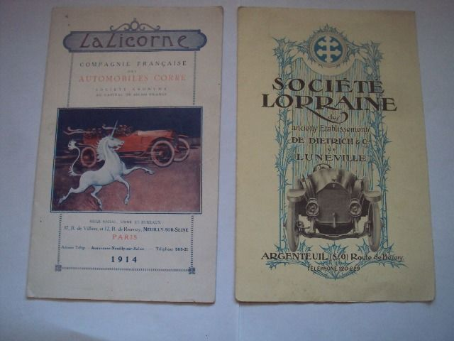 brochure / catalog car unicorn and lorraine dietrich - Renault - 1912