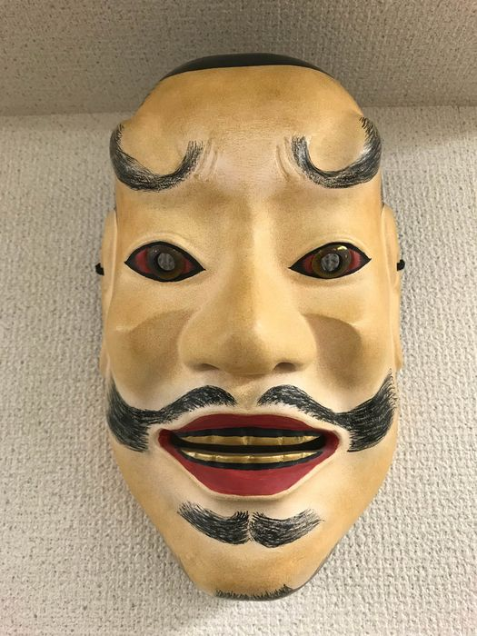 Noh mask - Natural solid wood, paint, lacquer - Mask of 天神 - Shinto God of Learning - Signed 'Ichigasa' 一笠 - Japan - Late 20th century