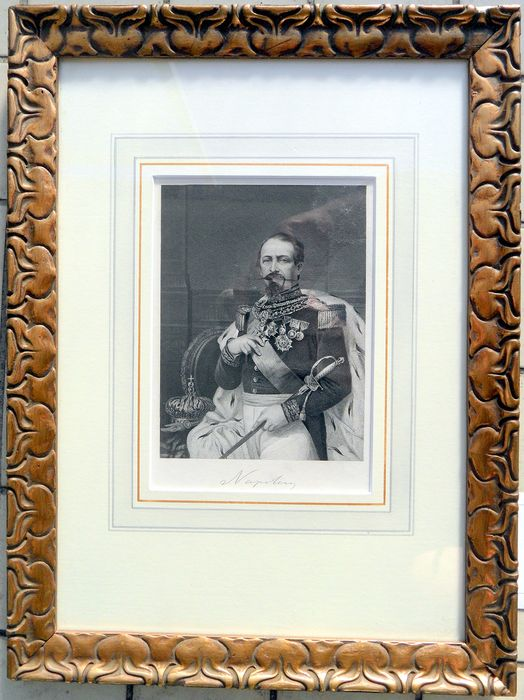 NAPOLEON III - engraving in frame - 1873