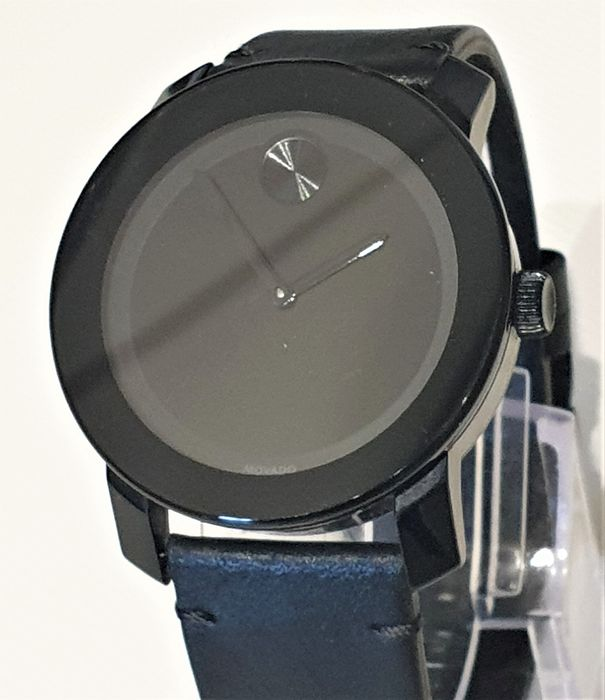 """Movado - Bold Black Museum Dial Black Leather Unisex Watch - """"NO RESERVE PRICE"""" - Unisex - 2011-present"""