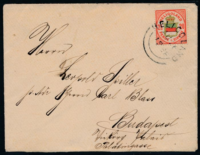 Heligoland 1876 - Coat of arms 2½ pence / 20 pfennigs on a letter, single franking to Budapest - Michel Nr. 18 g geprüft Schulz BPP