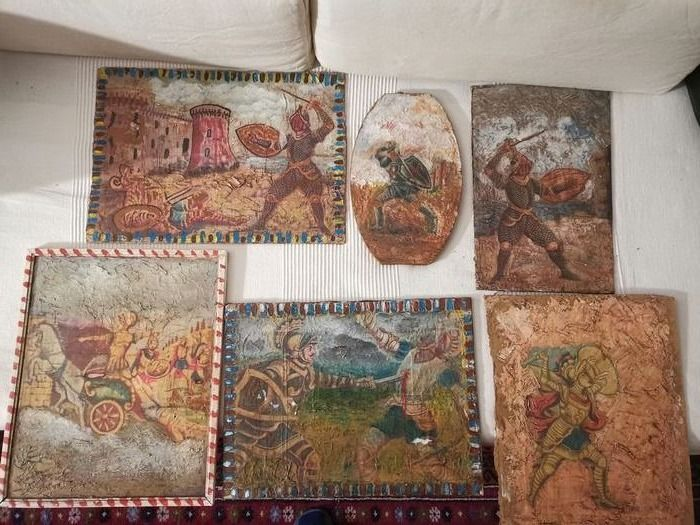 Painting, with paladins and Saracens (6) - Wood