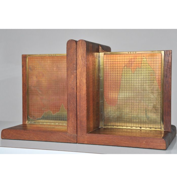 Fabrikant onbekend - Bookends (2) - Brass, Copper, Wood