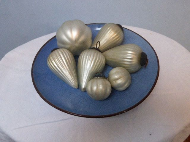 Heavy quality glass baubles (7) - Glass, metal