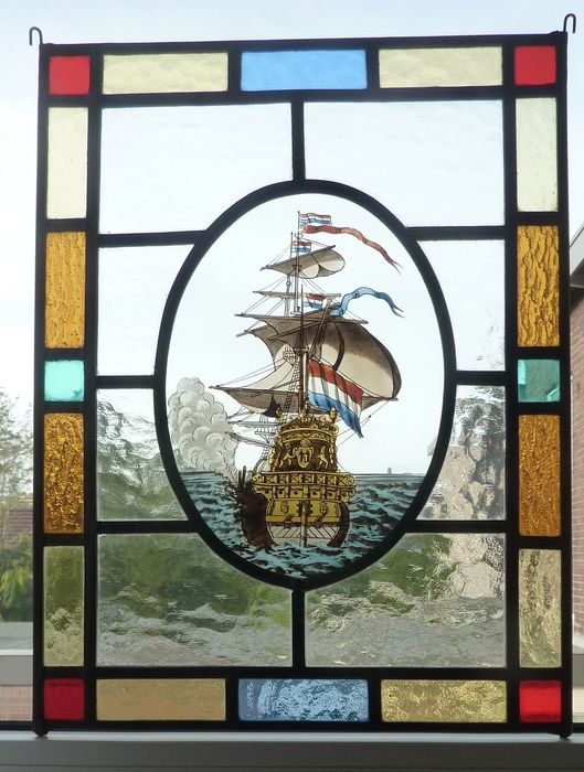 Window, with VOC ship - Stained glass