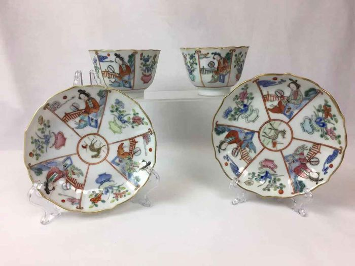 2 cups and 2 plates (4) - Famille rose - Porcelain - Ladies - Xianfeng guan yao - China - 19th century