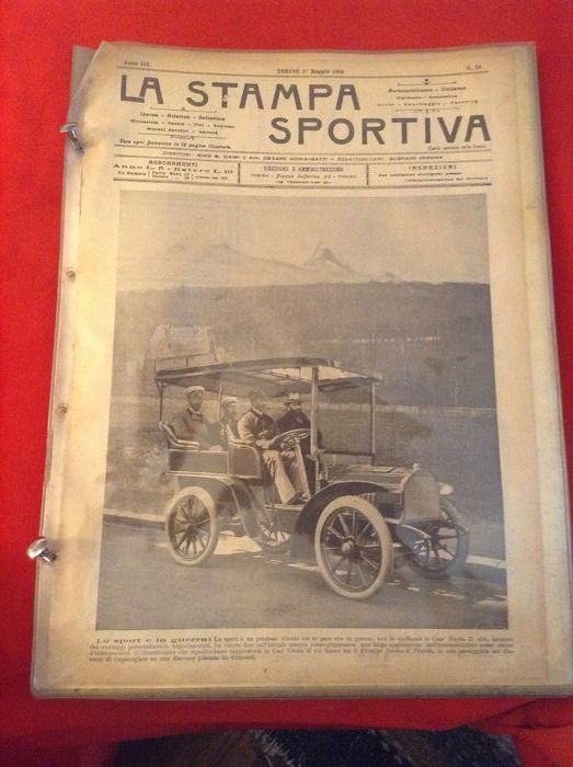 very rare 1902/1908 Photo Ads collection - very interesting & rare LA STAMPA SPORTIVA 1902/1908 photo ads - Darracq, Oldsmobile, Ceirano, Isotta-Fraschini, Peugeot, Aquila Italiana, Motociclette Borgo, Fiat  - 1902-1908