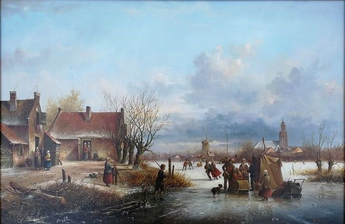 Lion Arie Feijen (1947) -  Dutch Winter scene, a frozen river