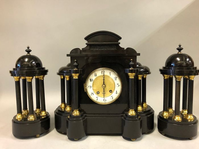 Three-part clock set - Black marble high gloss - Period 1900