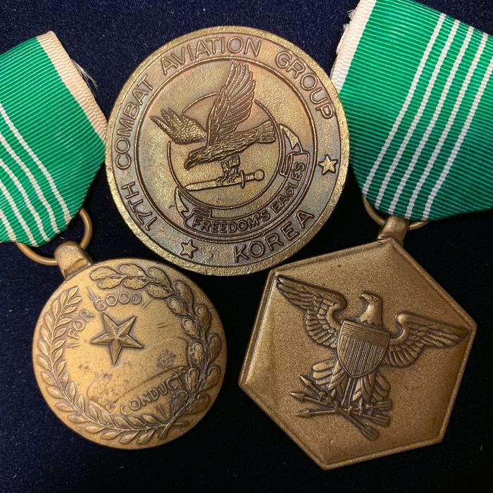 Three American Medals incl. Navy and Marine Corps Comendation Medal - Military Merit Medals - Great Patriotic Medals from The United States, also incl. 17th Combat Korea Medal