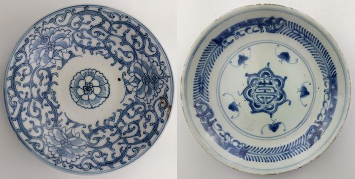 Blue-Painted Plates (2) - Porcelain - China - Late 19th century