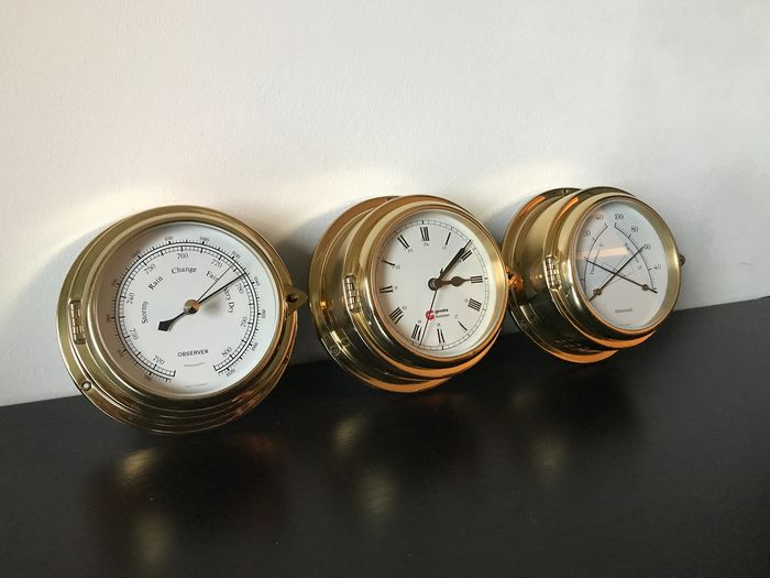 Observer ship clocks - Barometer - Thermometer / Hygrometer - Quartz clock - Weather station (3) - Brass