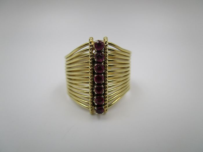 Edel Bandring - 18 kt. Yellow gold - Ring - 0.14 ct Ruby