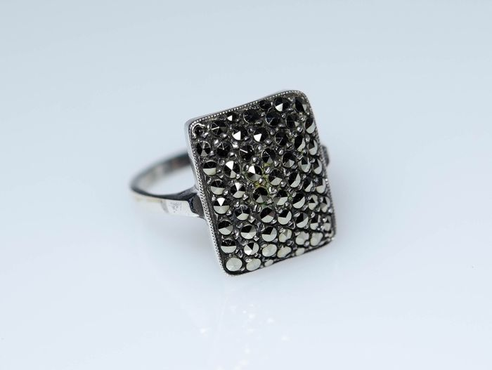 925 Silver - Ring with marcasites