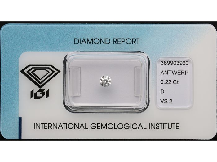 1 pcs Diamond - 0.22 ct - Brilliant - D (colourless) - VS2 ***No Reserve***