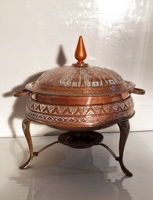 beautiful carved antique copper Chafing Dish warming pot with mythical scene