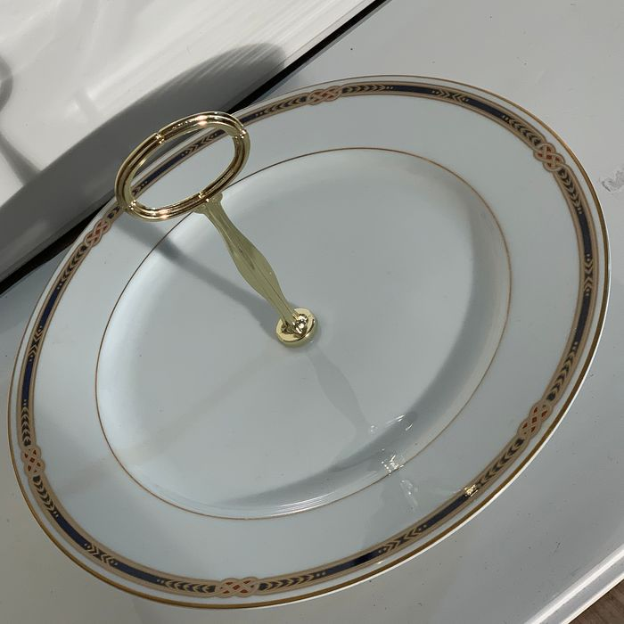 Fabergé - Authentic large footed sweet or Canapé server (3) - gilded porcelain