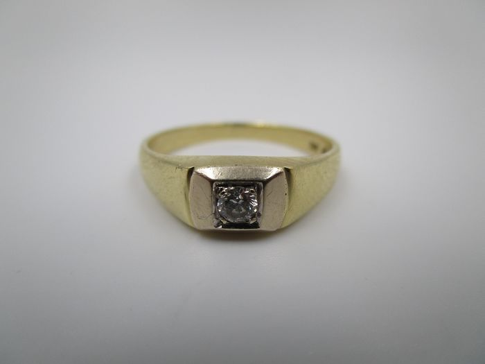Bandring / Solitär - 14 kt. Bicolour, White gold, Yellow gold - Ring - 0.15 ct Diamond