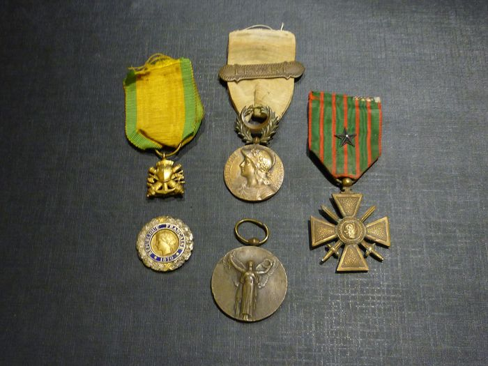 France - Lot of old french military medals war 14 18 (E3N) - Medal - 1920